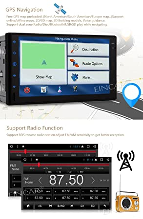 EinCar GPS DVD del coche de Android 7.1 estéreo del coche OCTA ...