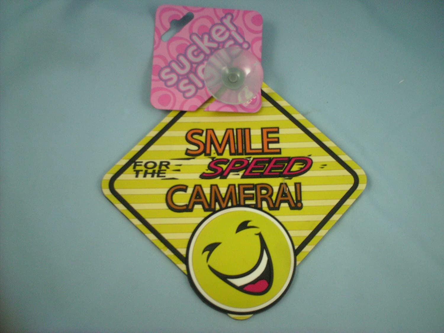 Smile for the SPEED Camera! novalty car sign with window sucker 58819