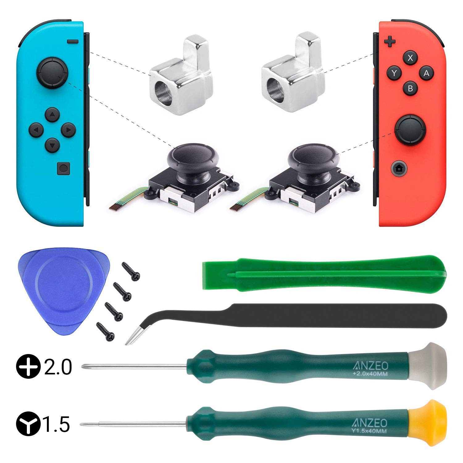 UOWGA 2 Pack Joy Con Analog Joystick, Thumb Stick, Rocker 3D for Joy-con Replacement with Repair Tool + 2 Metal Lock Buckles for Nintendo Switch by UOWGA
