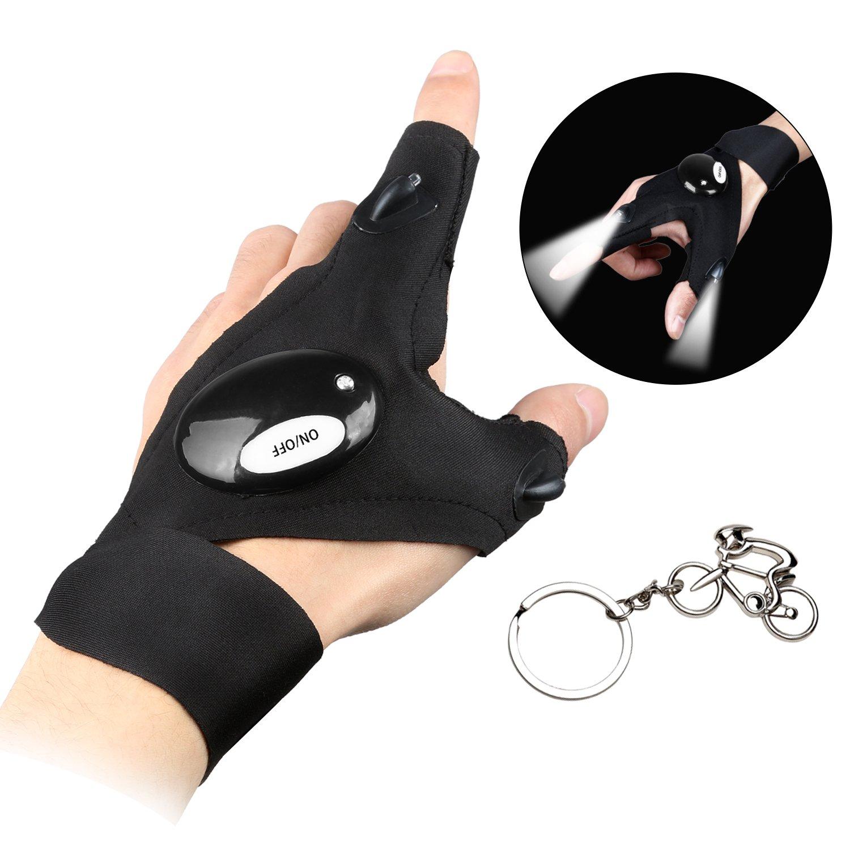 Handschuh-Taschenlampe für Männer und Frauen, fingerlose Taschenlampe, mit Klettverschluss, LED-Licht zum Angeln, Camping, Wandern und zur Reparatur von Geräten Kinder Left hand west biking