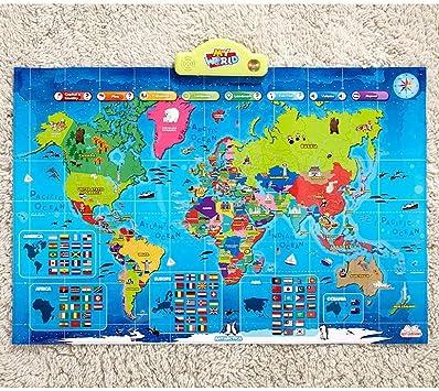 My USA My World Mapa Interactivo del Mundo para niños – más de 500 Hechos, Trivia y cuestionario – portátil y fácil de Usar: Amazon.es: Juguetes y juegos