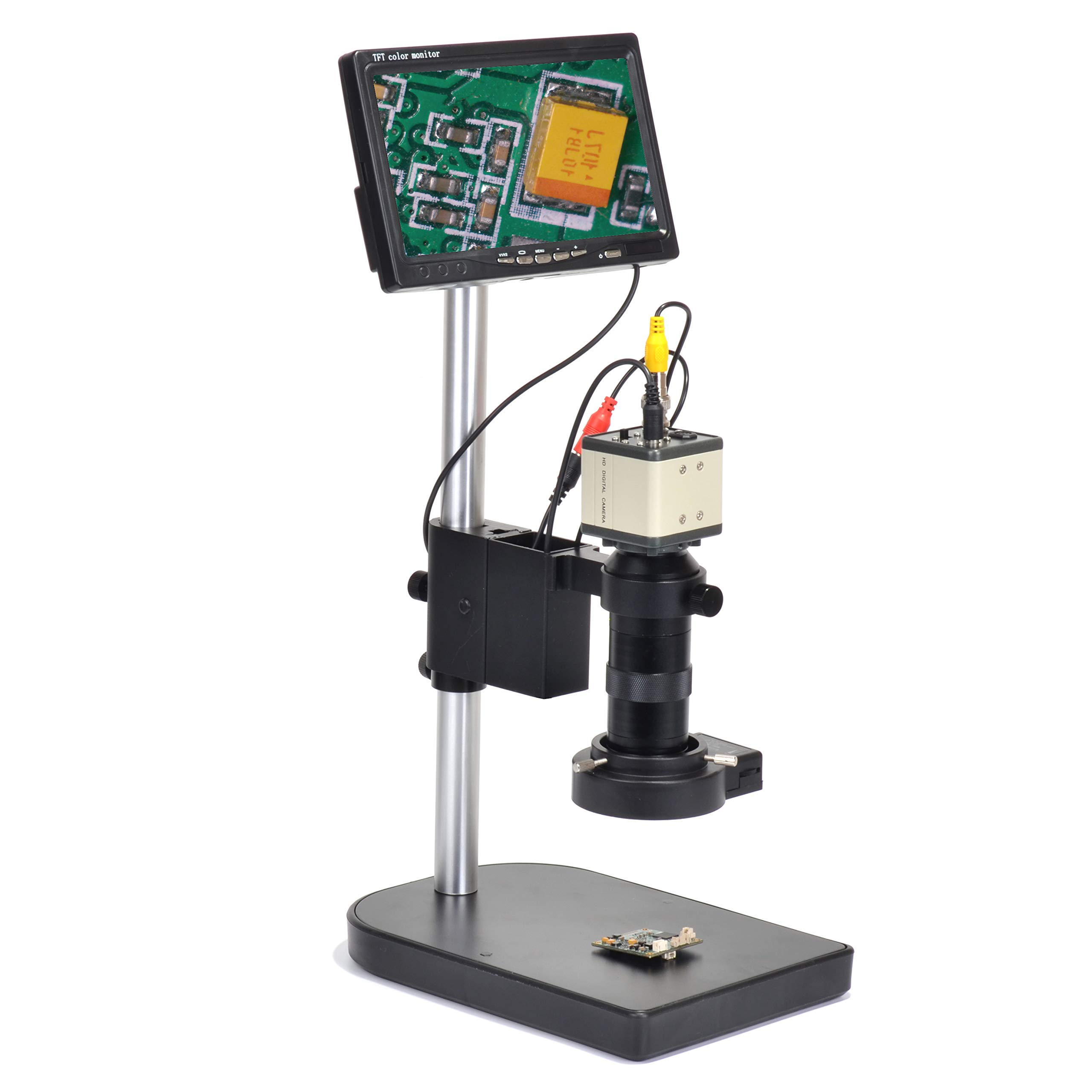 800TVL CCD 100X Microscope Industrial Camera Kit C-Mount Lens BNC Output 40 LED Ring Light 7'' LCD Monitor by HAYEAR