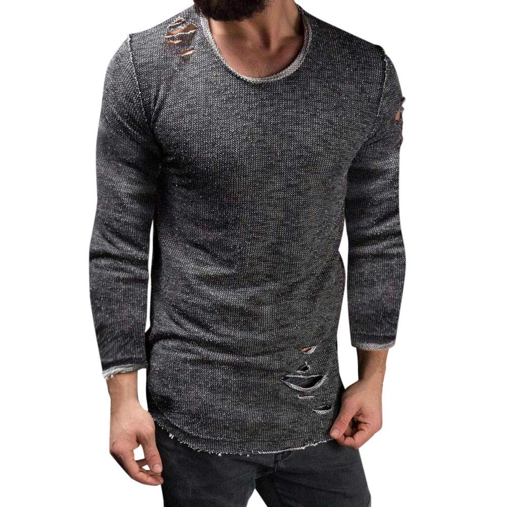 GoodLock Clearance!! Men's Fashion Slim Fit Blouses Casual O Neck Long Sleeve Muscle Tee T-Shirt Ripped Tops (Dark Gray, XXX-Large)