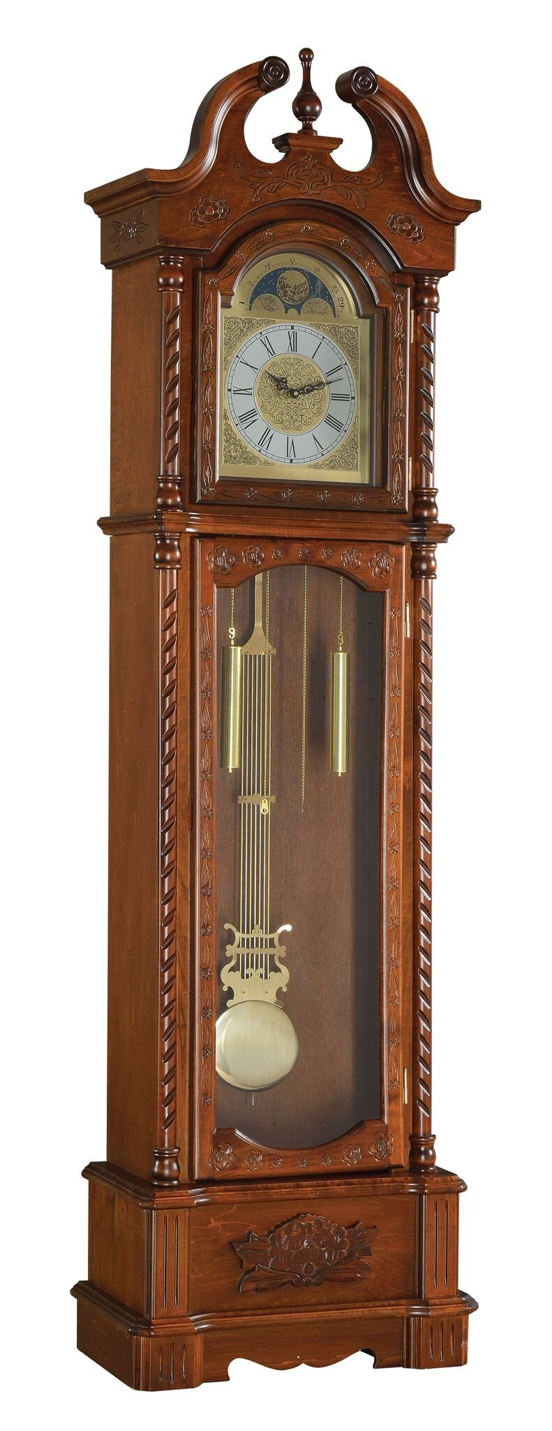 Major-Q 9097085 82'' H Traditional Style Dark Oak Finish Grandfather Floor Clock with Movement Pendulum Included by Major-Q