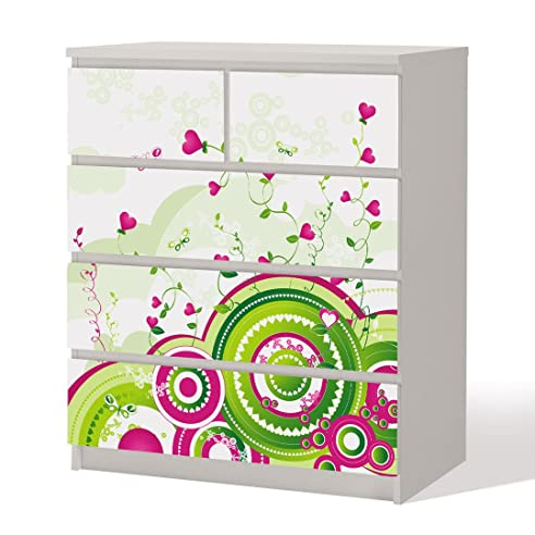 Möbelfolie -- Floral Retro Love -- Dekorfolie für Schränke ...
