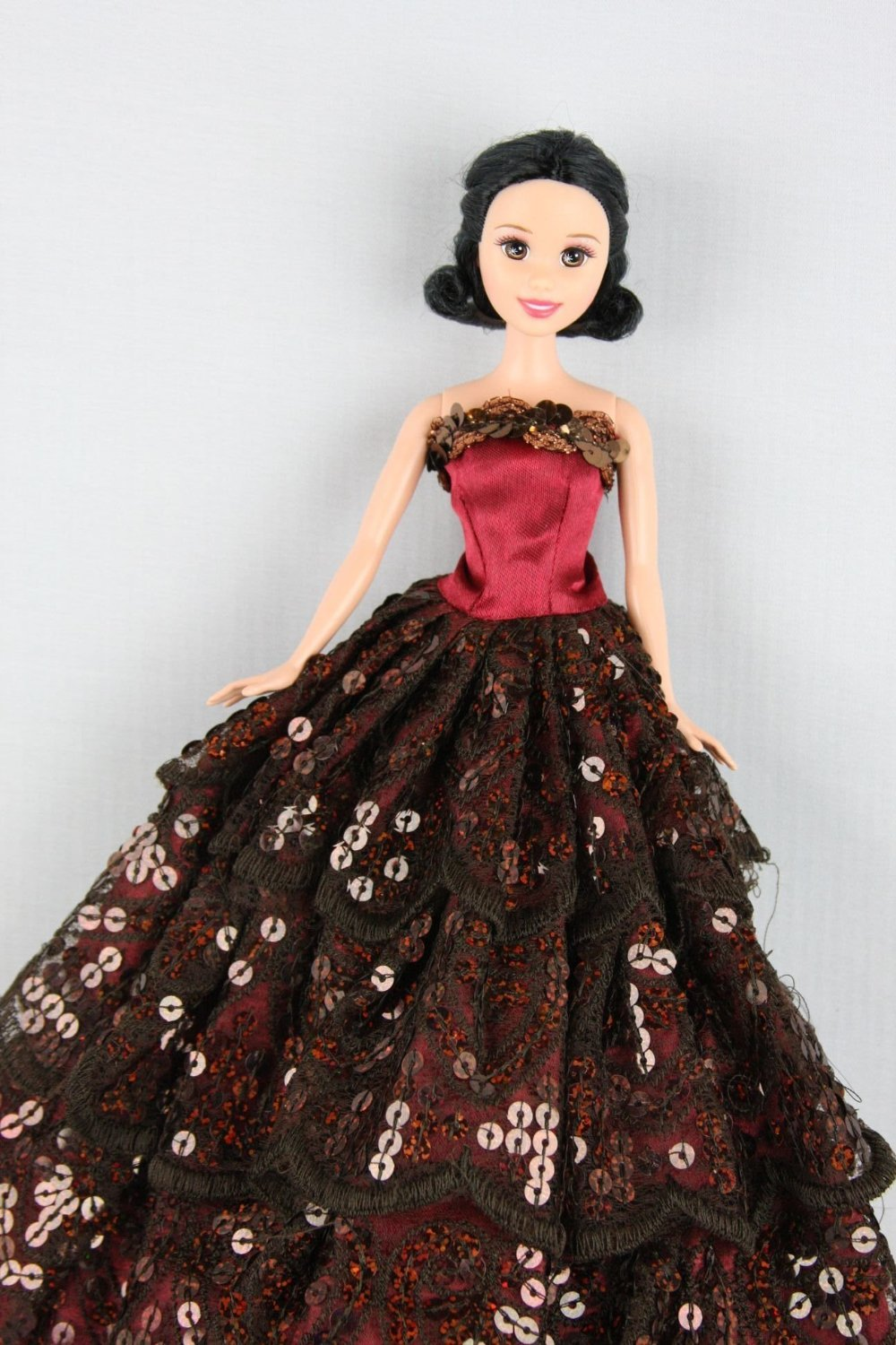 Burgundy Gown Covered in Sequins Made to Fit Barbie Doll Olivia/'s Doll Closet