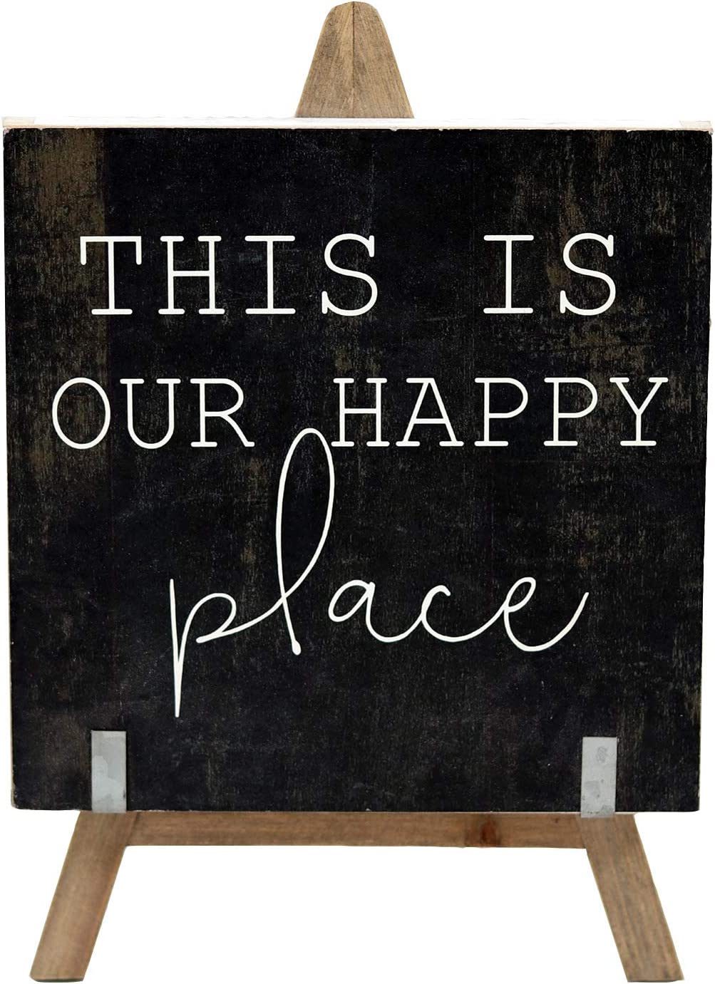 Parisloft This is Our Happy Place Wooden A-Frame Freestanding Home Decor,Farmhouse Wood Signs | Vintage Decor for Tables, Wedding Decor, Table Top, Home and Kitchen (Black)