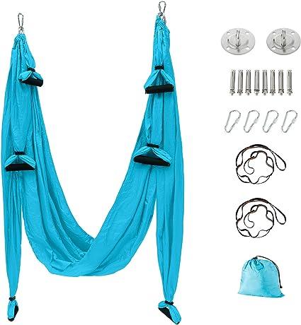 Yoga Swing Trapeze Hammock Aerial Sling Inversion Home Fitness Tool Silks Set