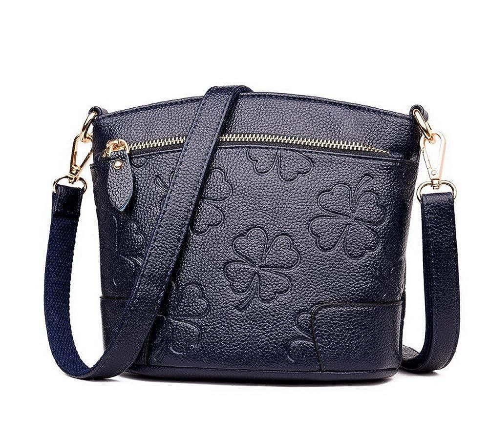 bluee AmoonyFashion Women's Bags Zippers Shopping Pu Crossbody Bags,BUTBS182123