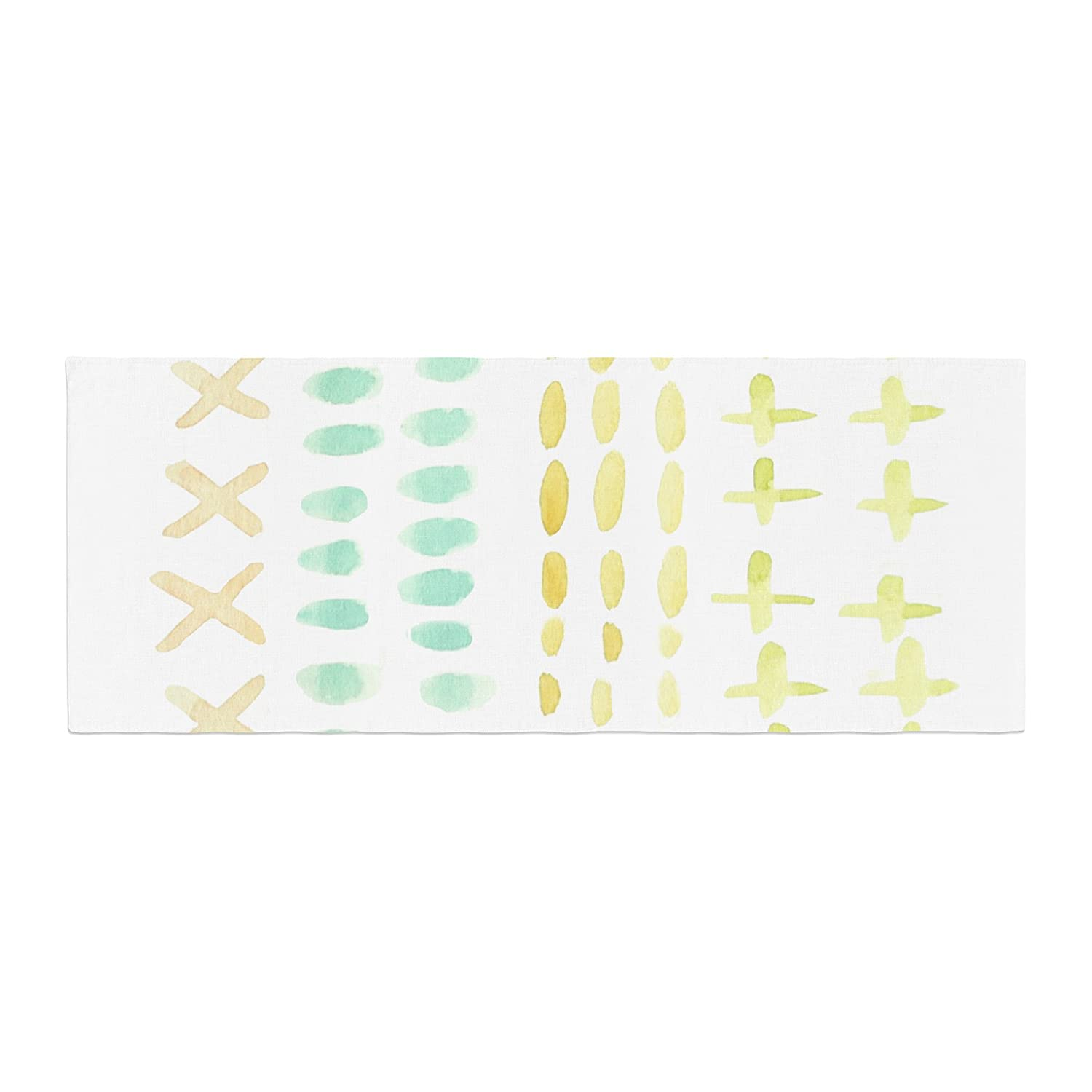 Kess InHouse Jennifer Rizzo Dots and Dashes Teal Yellow Bed Runner, 34' x 86'
