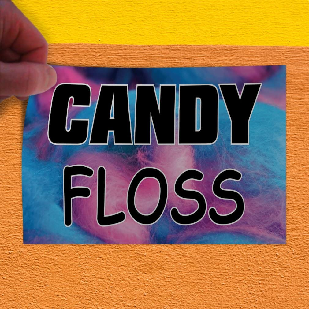 Decal Sticker Multiple Sizes Candy Floss #1 Style A Retail Candy Floss Outdoor Store Sign Pink Set of 5 27inx18in