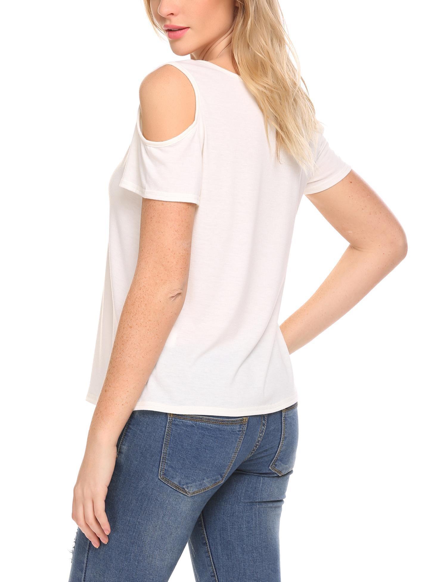 b452d1e047a ELESOL Women Cut Out Shoulder Short Sleeve T Shirt Tops Blouse White XXL