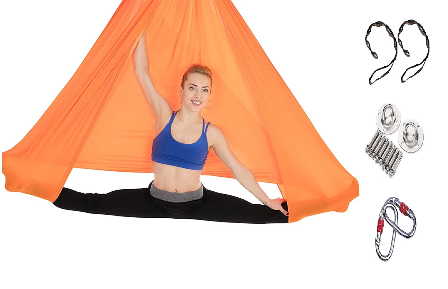 Tofern Set Aerial Yoga Tuch 500 x 280cm Bruchlast 900kg für Anti-Gravity Outdoor Indoor