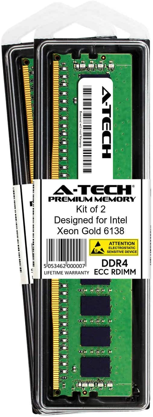 Server Memory Ram A-Tech 16GB Module for Intel Xeon Gold 6138 DDR4 PC4-21300 2666Mhz ECC Registered RDIMM 1rx4 AT360788SRV-X1R8