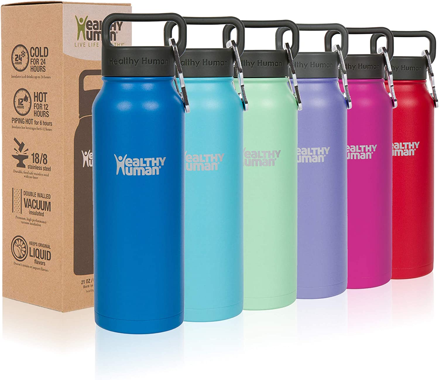 Healthy Human Water Bottle Bpa Free Sports Travel Stainless Steel Insulated Water Bottles Amazon Ca Sports Outdoors