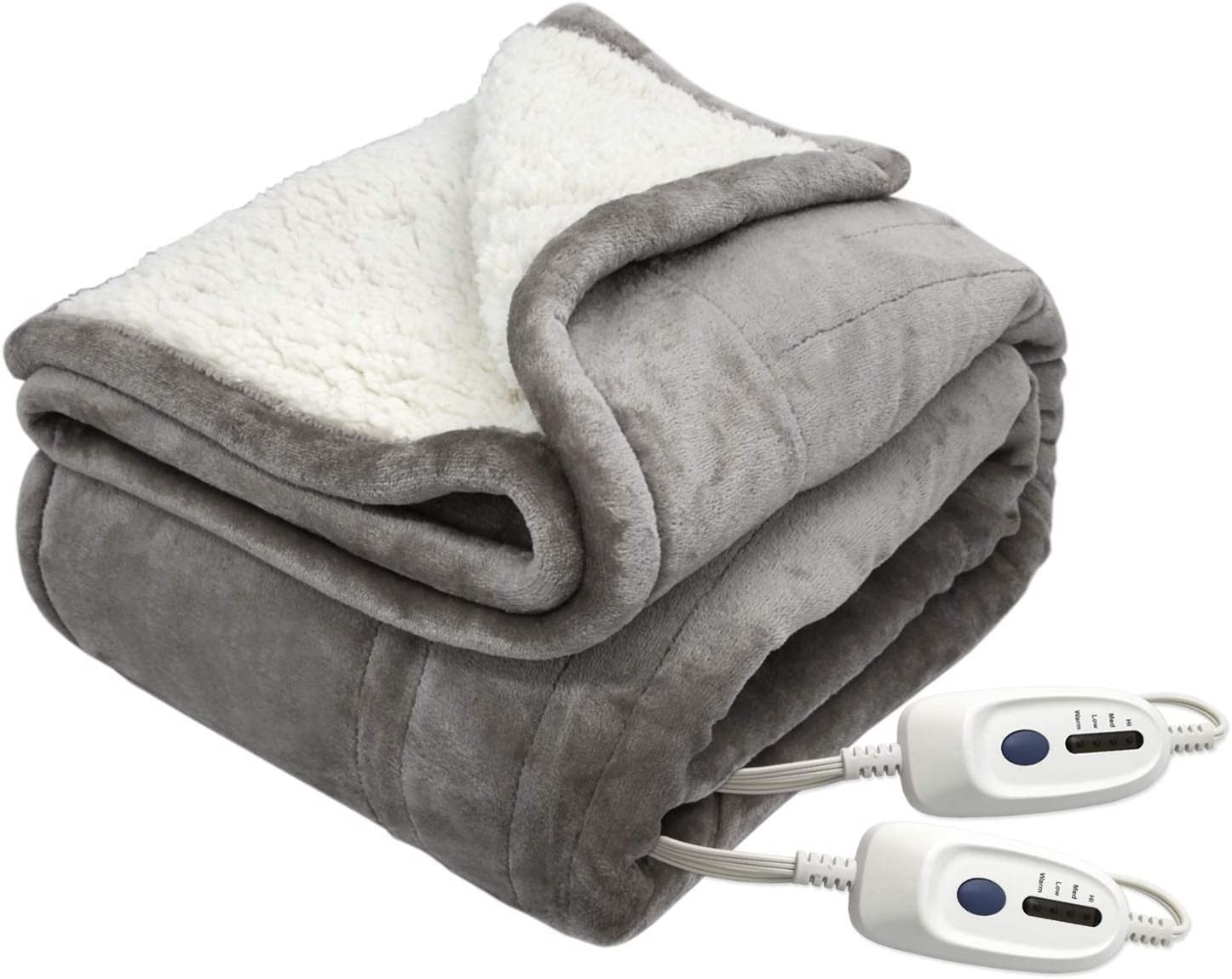 MARQUESS Electric Blanket Microplush Sherpa and Reversible Flannel Washable Heated Blanket Comfortable with 4 Heat Settings/Safety 10 Hours Auto-Off Dual Controllers(84x90 Grey)