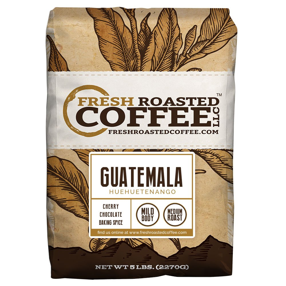 Guatemala Huehuetenango Coffee, Whole Bean Bag, Fresh Roasted Coffee LLC. (5 LB.)
