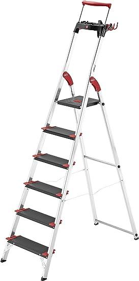 Hailo XXR 225 - Escalera doméstica de aluminio extra resistente, peldaños extra anchos, estribo de sujeción extensible, y bandeja multifuncional (6 peldaños): Amazon.es: Bricolaje y herramientas