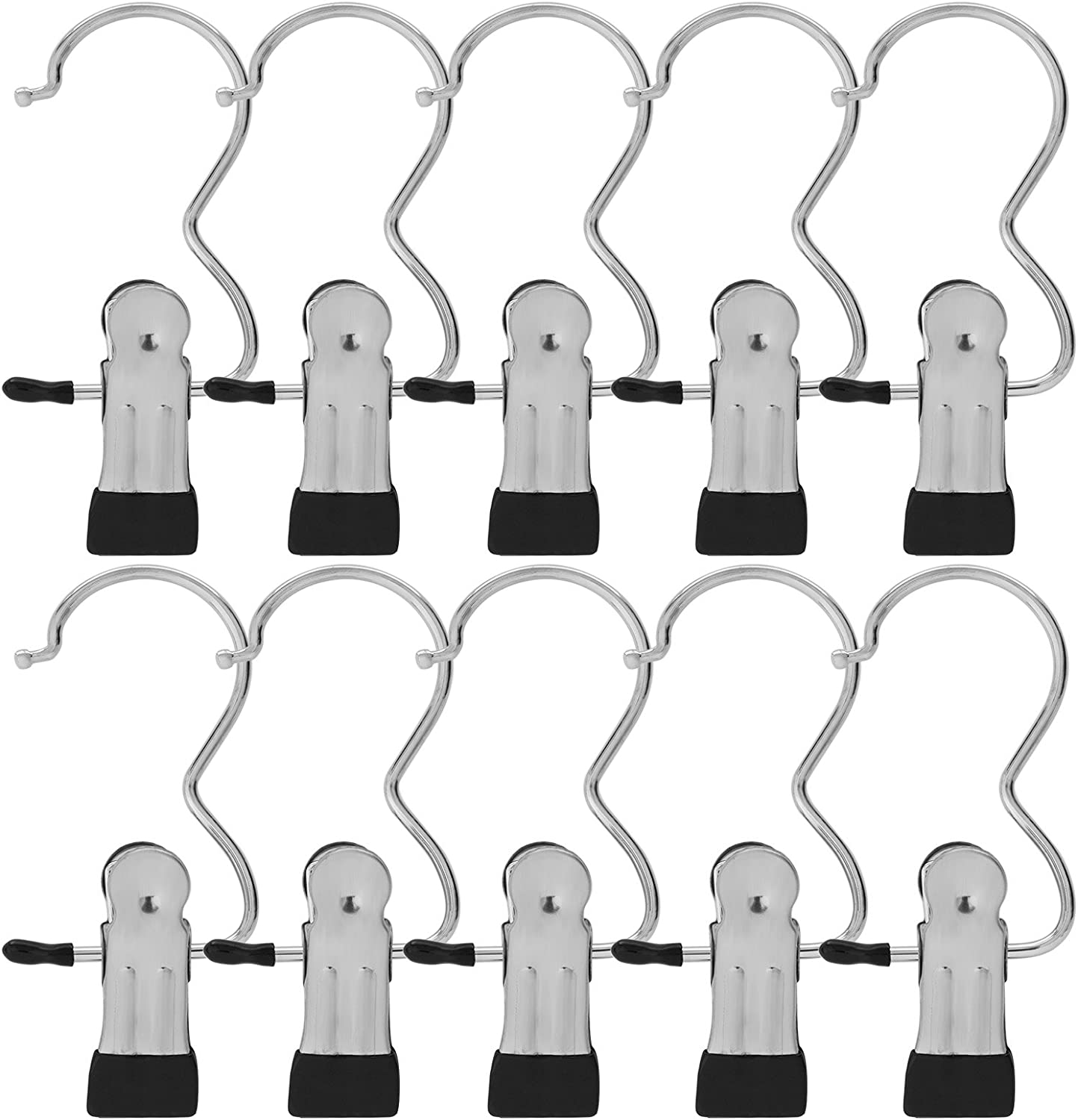 BEWISHOME 24 PCS Laundry Hook Boot Hanging Hold Clips Portable Hanging Hooks Home Travel Hangers Clothing Clothes Pins, Chrome FYC03S