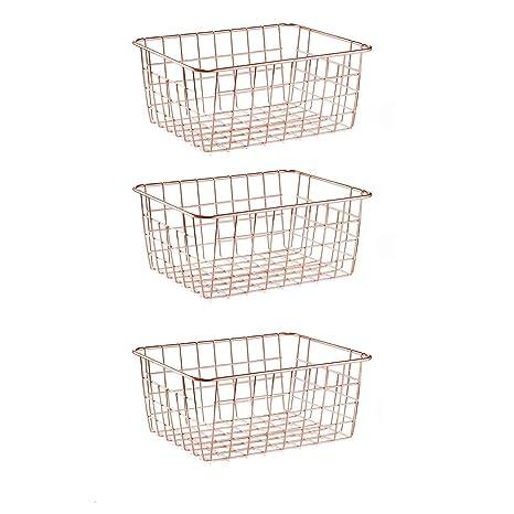 SINARDO Wire Storage Basket Organizer Bin Baskets for Kithen Cabinets  Freezer Bedroom Bathroom (3, Rose Gold)