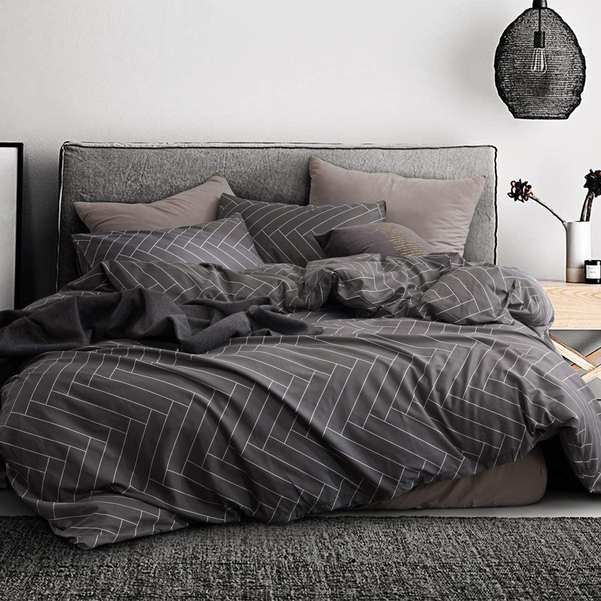 ECOCOTT 3 Pieces Duvet Cover Set Queen 100% Natural Cotton 1 Duvet Cover 2 Pillowcases, Dark Grey and White Herringbone Printed Pattern Soft Cozy Luxury Breathable and Durable Bedding Set