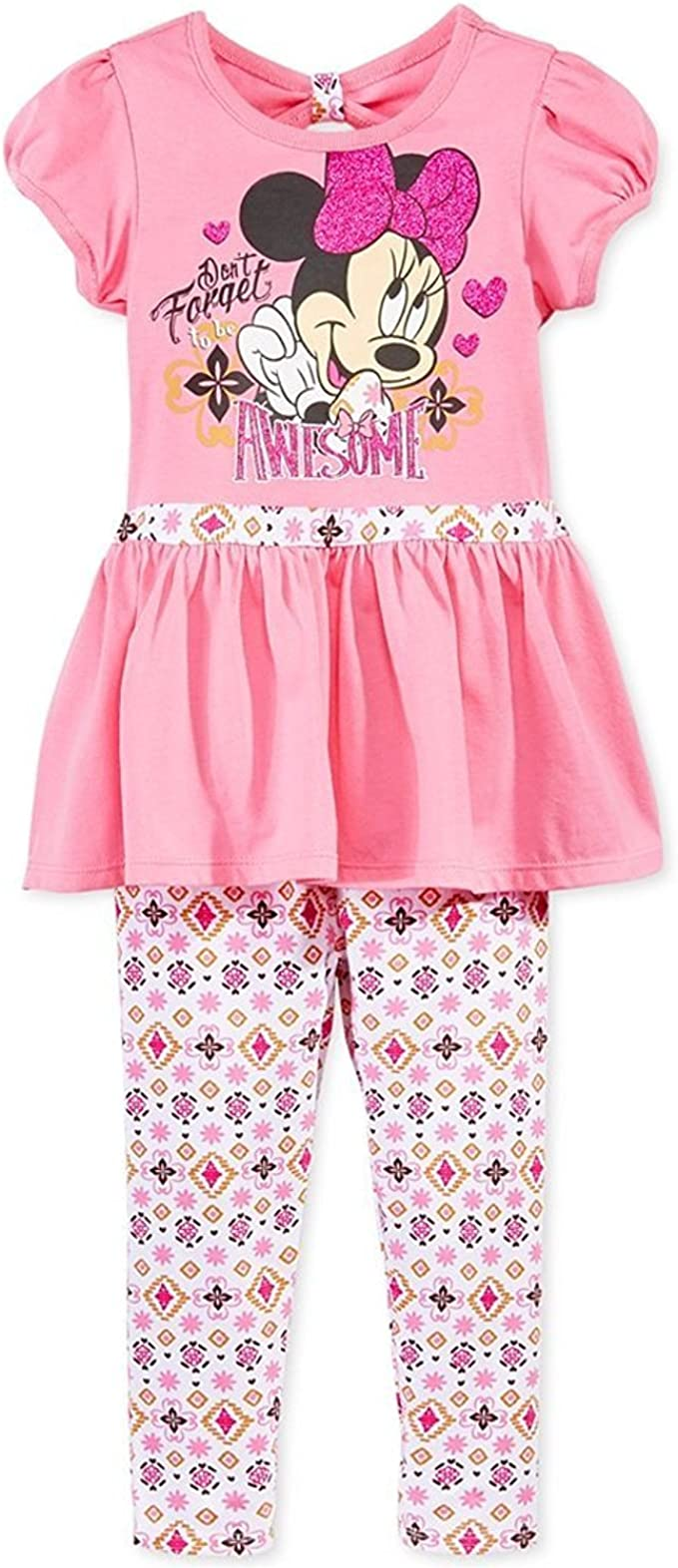 2-6T Girls Strappy Bowknot Pink Cropped Tops Floral Flare Pants Clothes Set