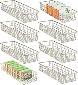 mDesign Household Wire Drawer Organizer Tray, Storage Organizer Bin Basket, Built-In Handles - for Kitchen Cabinets, Drawers, Pantry, Closet, Bedroom, Bathroom - 8 Pack - Satin