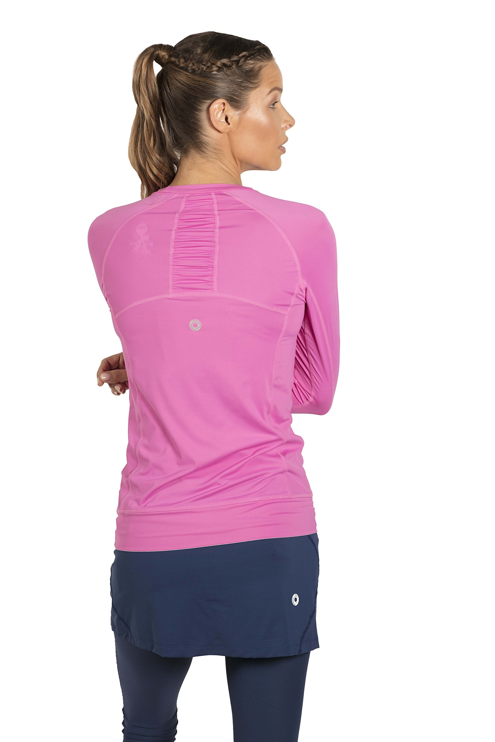 BloqUV Women's Sun Protective Long-Sleeve Pullover T-Shirt, Bubblegum (X-Small)