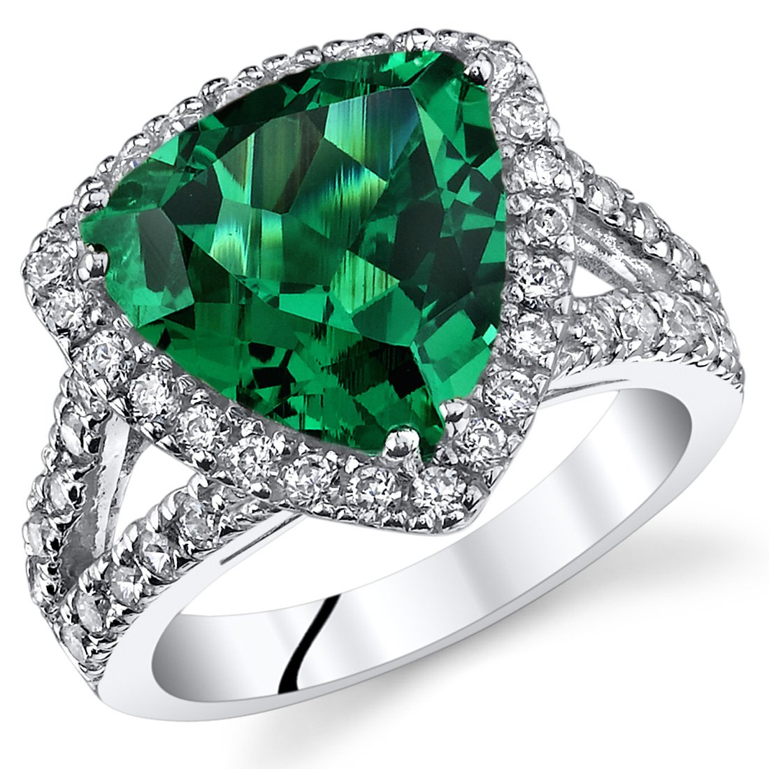 5.00 Carats Trillion Cut Simulated Emerald Cocktail Ring Sterling Silver Sizes 5 to 9 Peora