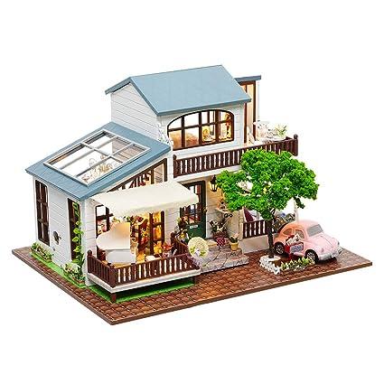 Amazon Com Wolfbush Dollhouse Kit Miniature 3d Puzzles Wooden