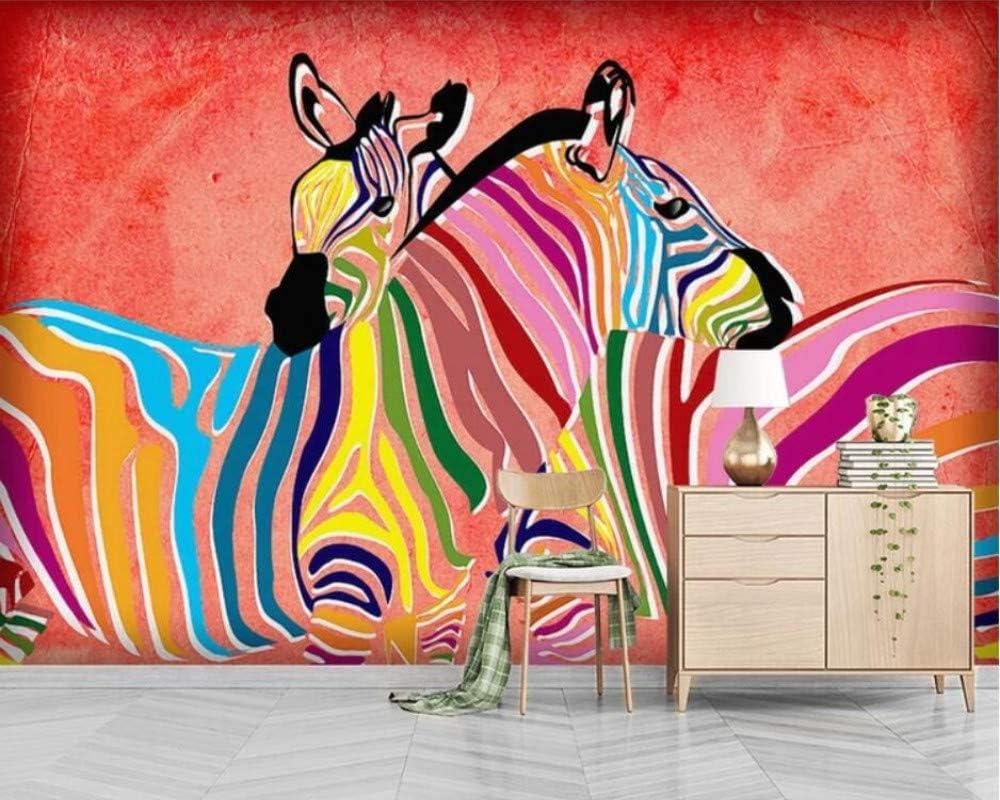 SKTYEE Mural 3D Wallpaper foto dulce pareja caballo modernista nórdico pintado a mano mural pintura mural decoración, 350x245 cm (137.8 por 96.5 in)