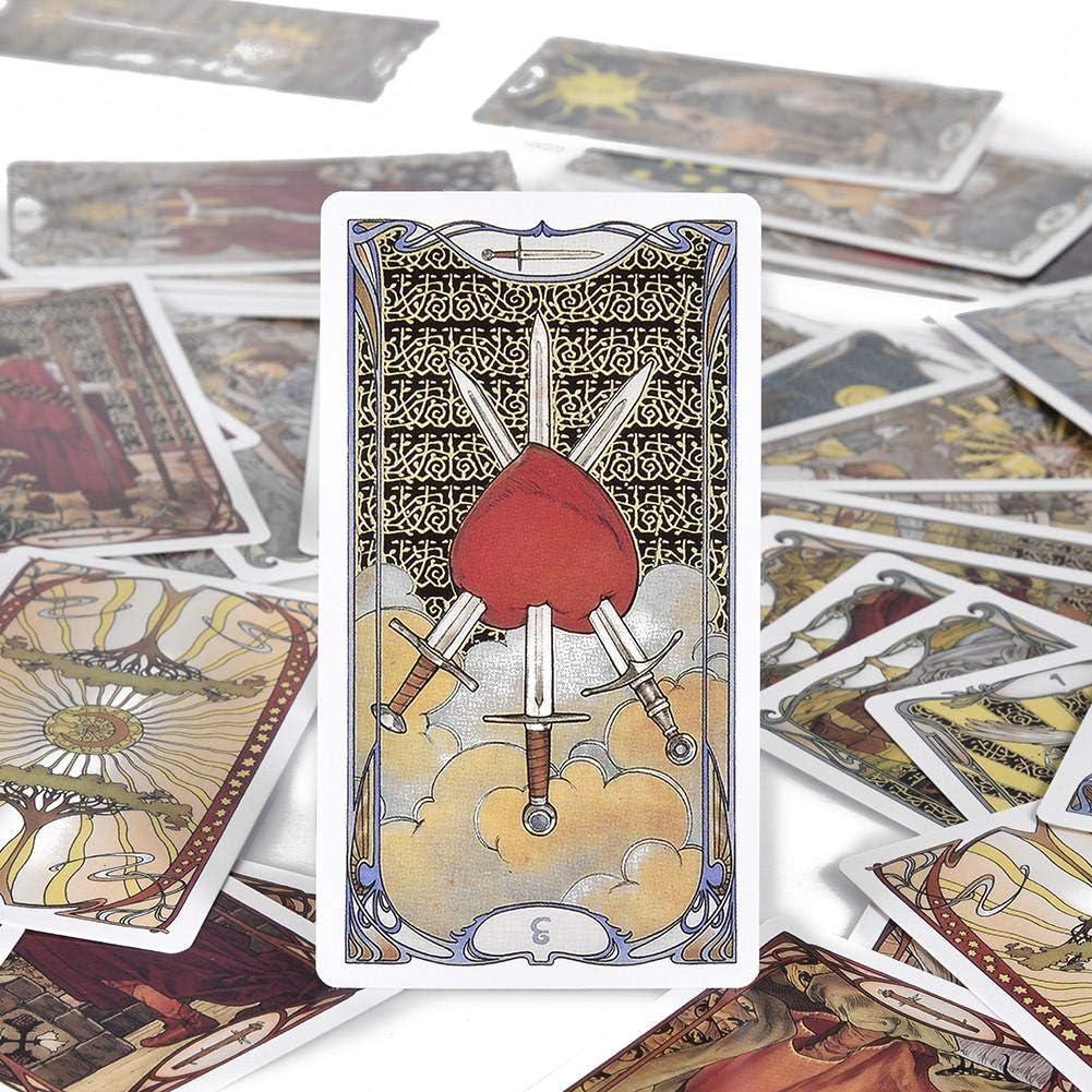 NXL Golden Art Nouveau Tarot Deck 78 Cartas con Tarjetas De Gu/ía Juegos De Libros De Adivinaci/ón Oculta para Principiantes Estilo Art Nouveau Cl/ásico