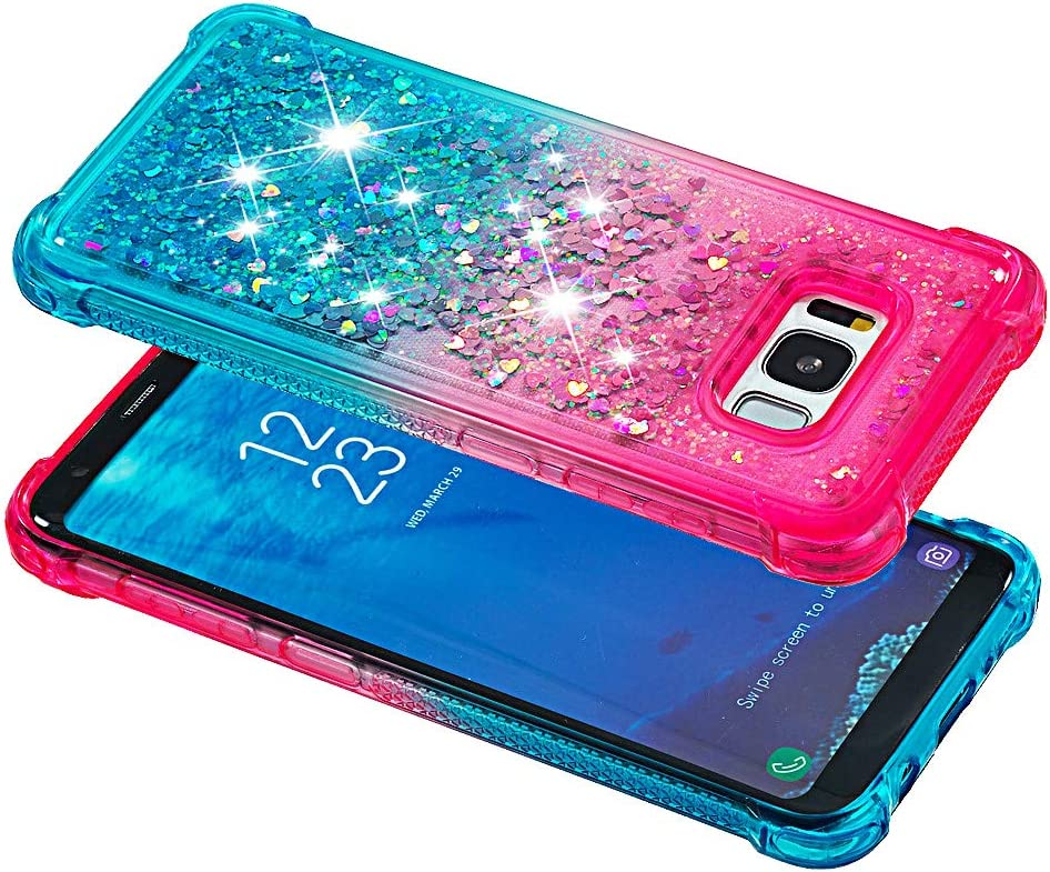WIWJ Schutzh/ülle Kompatibel mit Samsung Galaxy S8 H/ülle Glitzer Cover mit TPU Glitter Quicksand Transparent Silikon Weich Bumper Case f/ür Samsung Galaxy S8-Lila unter Blau
