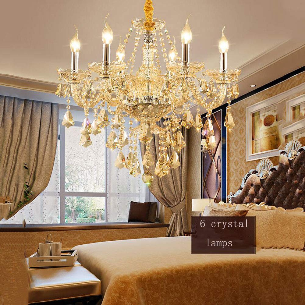 ZJQ Europäischer Luxus-Kristall-Kronleuchter Kristallglälerei Kristallglälier Wohnzimmer Esszimmer-Schlafzimmer-Lampe Champagner-Gold-Kristallleuchter,Six
