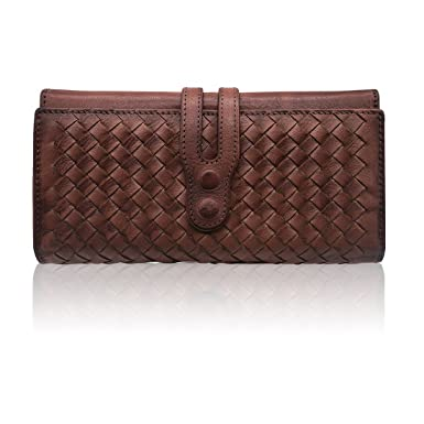 Wallets for Women Genuine Leather Handmade Ladies Woven Wallet Purse  Knitting Card Holder(Coffee) c35c3f3e2eb2c