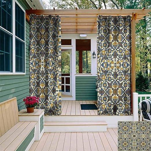 XXANS Cortina de Puerta corredera, Azulejos de Mosaico con Adornos inspirados en la Naturaleza, Tulipanes y Margaritas con rizos, Panel de Puerta de Patio Impermeable: Amazon.es: Jardín