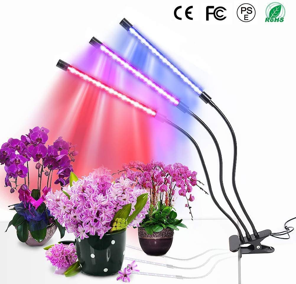 MOSUNECE LED Grow Lights for Indoor Plants Grow Lamp with Timer for Seedlings 3 6 12H Timer Auto Turn On Function 3 Heads Adjustable Gooseneck