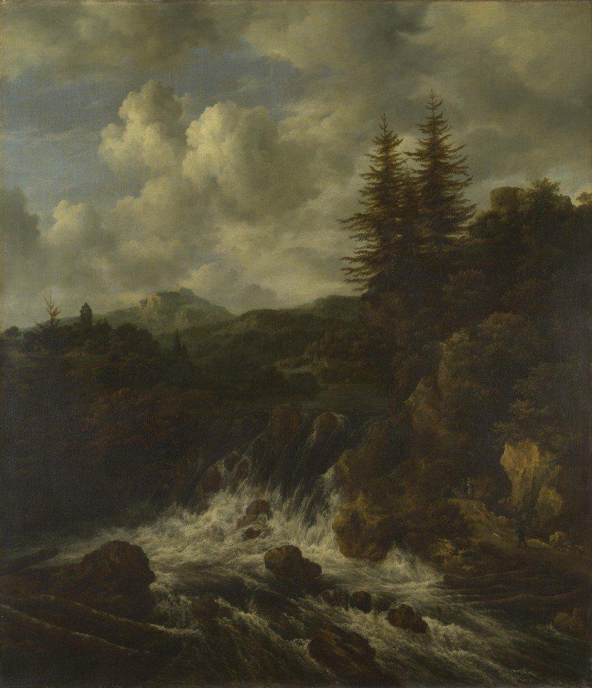 Das Museum Outlet – Jacob van Ruisdael – Eine Landschaft mit einem Wasserfall und einem Schloss auf einem Hügel – Poster Print Online kaufen (152,4 x 203,2 cm)
