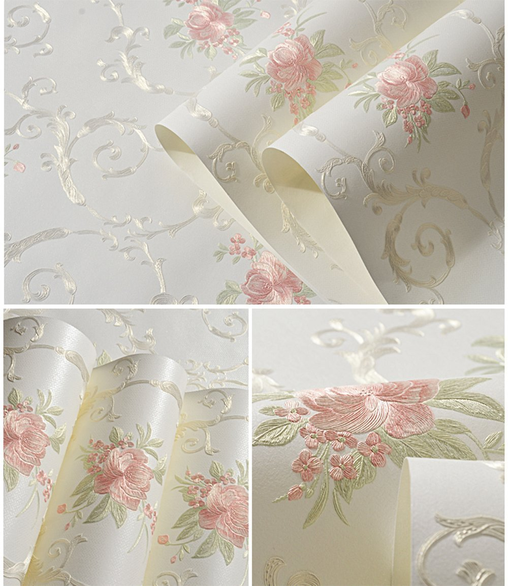Non-Woven Decorative Flower Contact Paper Self Adhesive Luxury Embossed Floral Peel and Stick Wallpaper for Wall Livingroom Bedroom Crafts Wall Decor 20.83 Inches by 9.8 Feet