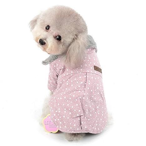 SELMAI Abrigos cálidos para Perros pequeños Chaqueta Forrada con Piel sintética Patrón de Moda Perro Ocasional