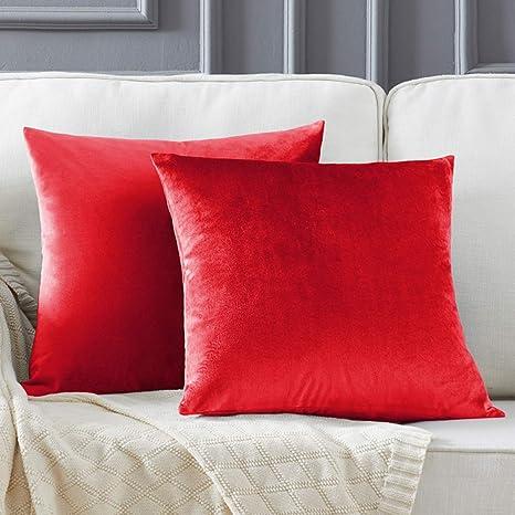 Rojo Vino Terciopelo Almohada Cubre Caso Suave decoración Fundas de de cojín para sofá Dormitorio CocheCama Casa Decor 45x45cm ,Pack de 2