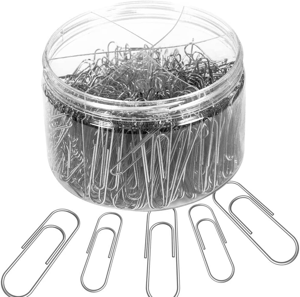 for Office School Clips and Personal Document Organizing Small 650 Pieces Assorted Sizes Silver Paperclips Medium and Jumbo Youyuan Paper Clips PC500 28mm, 33mm, 50 mm