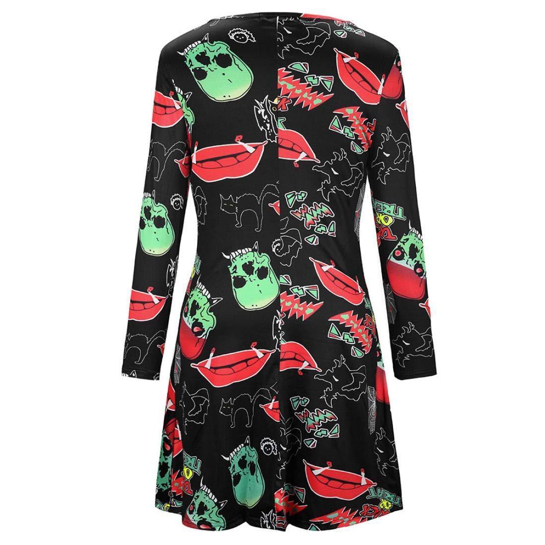 BaZhaHei de Halloween, Vestido de Estampado de Cuello Redondo de Manga Larga con Estampado de Crimson carmesí de Mujer de Halloween Winter de Vestido de ...