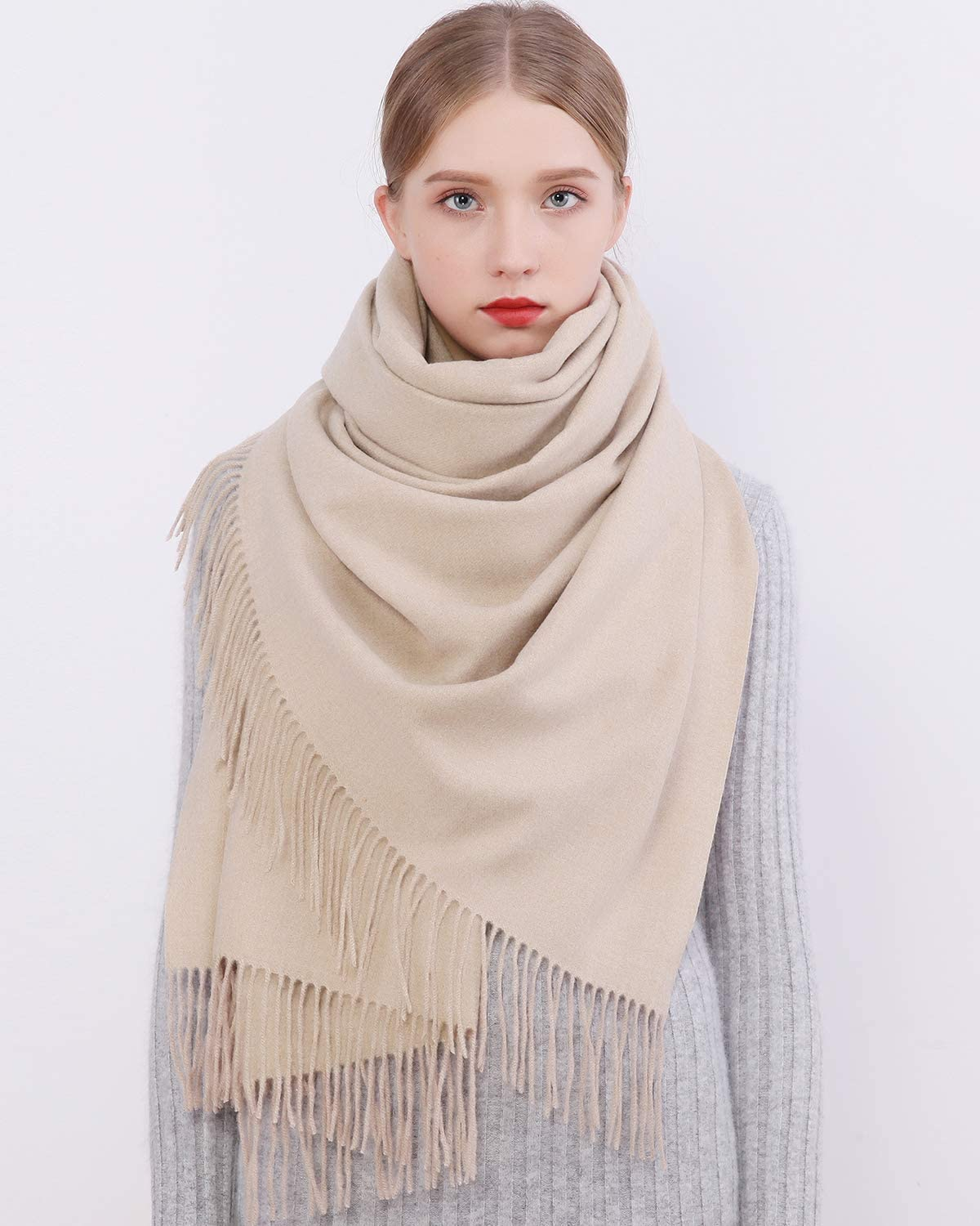 Women Scarf Pashmina Shawls and Wraps Yellow Long Large Winter More Warm Thicker Scarves Yellow