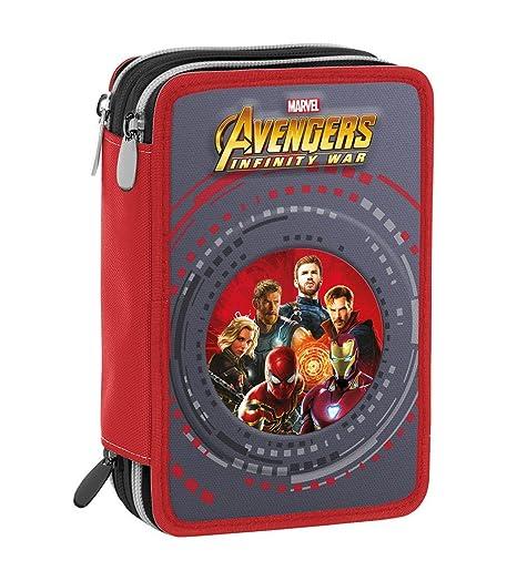 Estuche 3 Cremalleras Marvel Avengers Infinity War , Rojo Multicolor , Pisos con Contenido: Lápices, Rotuladores ...