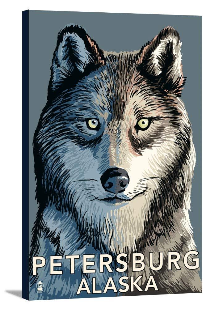 ウルフUp Close – Petersburg、アラスカ 12 x 18 Gallery Canvas LANT-3P-SC-30963-12x18 B018P4Y1IO  12 x 18 Gallery Canvas