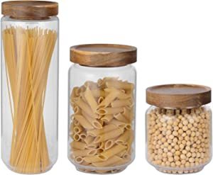 Glass Food Storage Jars Containers Kitchen Canisters with Airtight Bamboo Lids Set of 3 for Coffee, Flour, Sugar, Cookie, Spice