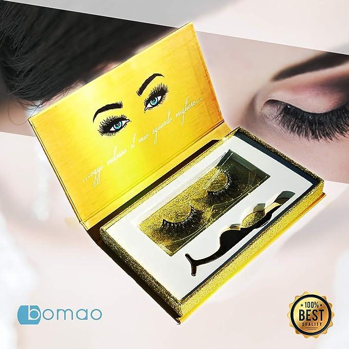 5 opinioni per Bomao Eyelashes   Ciglia Finte 5D Look Naturale 1 Coppia Non Magnetiche