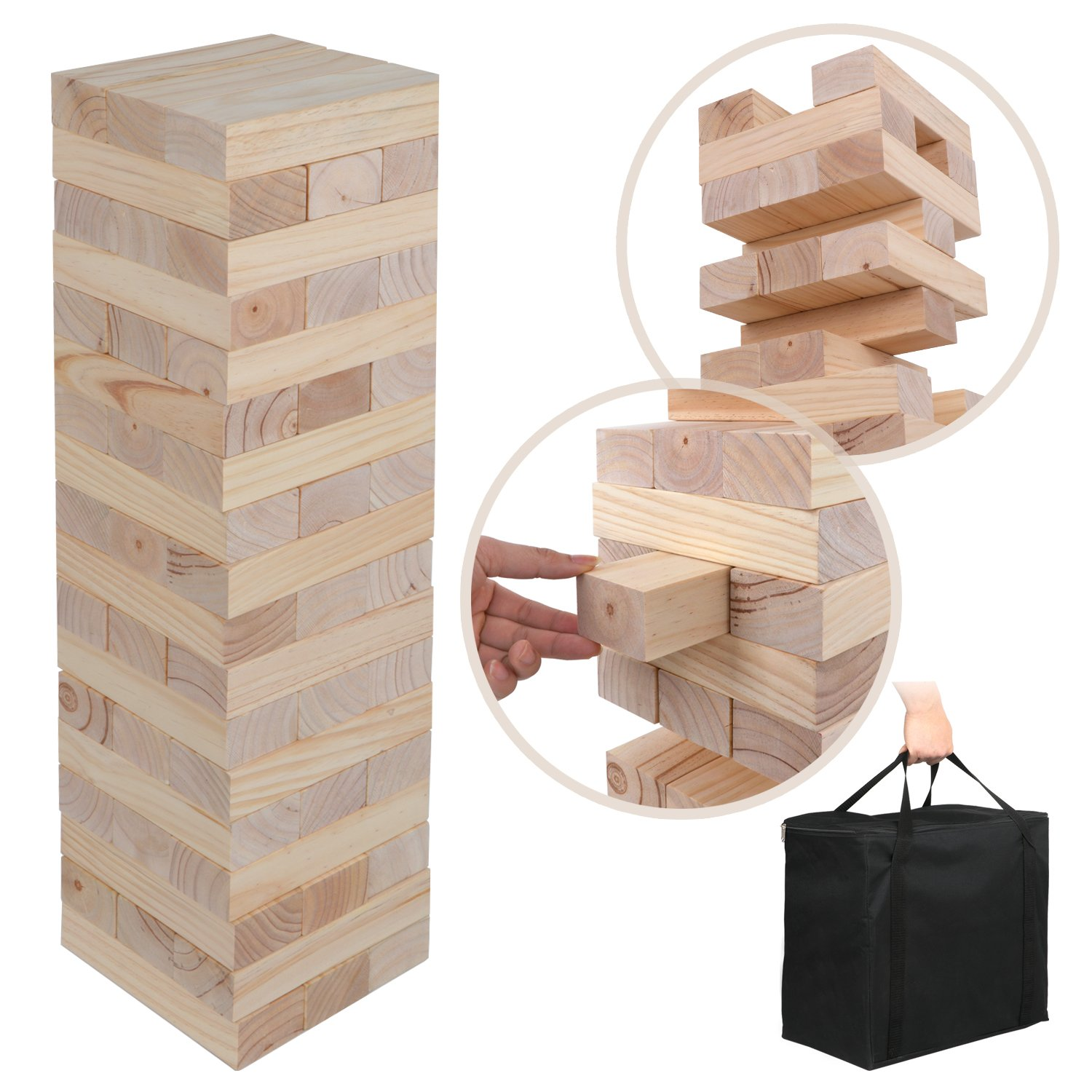ZENY Giant Wooden Toppling Tower Jumbo Tumbling Timbers Stacking Block Sets with Carrying Bag Yard Games 54 Pieces