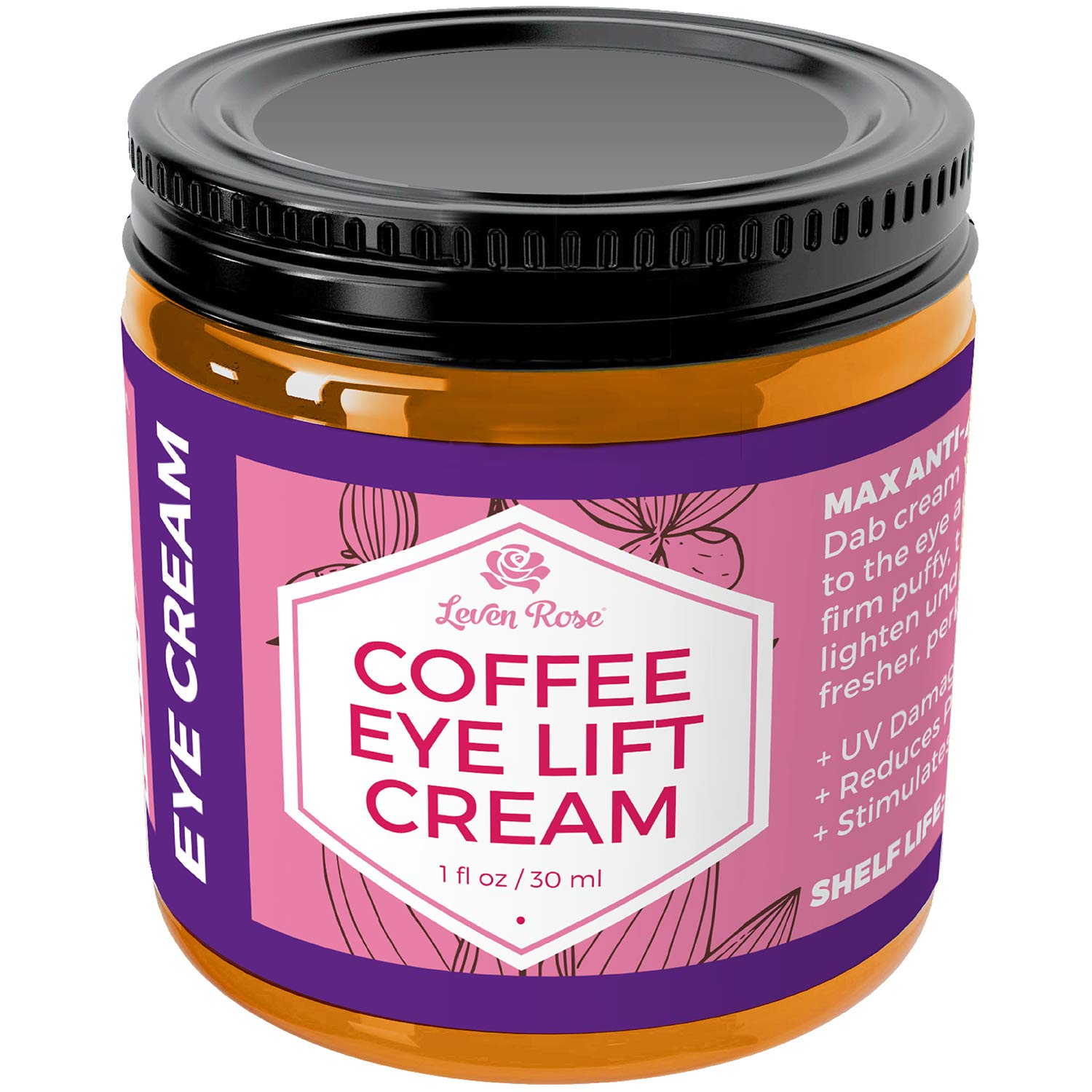 Coffee Eye Lift Cream by Leven Rose 100% Natural, Reduces Puffiness, Brightens Tired Eyes & Dark Circles, Anti Aging, Firming, Collagen Building, Deep Hydrating Wrinkle Creme 1 oz by Leven Rose